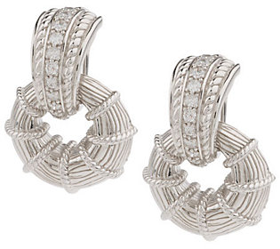 Judith Ripka Sterling Diamonique Doorknocker Earrings